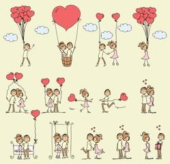 Valentine doodle boy and girl in love. Vector line illustration