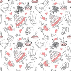 Wedding Doodle line seamless pattern for design wedding greeting card, wallpaper and other