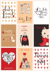 Valentine's greeting cards with cute animals.Valentines day greeting card with calligraphy. Hand drawn design elements. Handwritten modern brush vintage lettering.