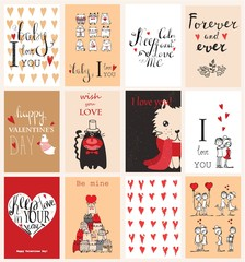 Valentine's greeting cards with cute animals.Valentines day greeting card with calligraphy. Hand drawn design elements. Handwritten modern brush vintage lettering.