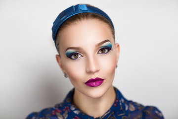 Woman with blue make up