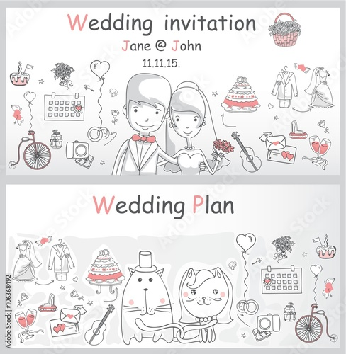Doodle Line Design Of Web Banner Template With Outline Cartoon Wedding Icons Planner