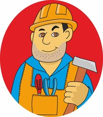 vector illustration of a man in a construction helmet and overalls. worker with hammer in his hands and tools. Repairman with the tool