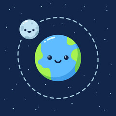 Cute cartoon Earth with Moon