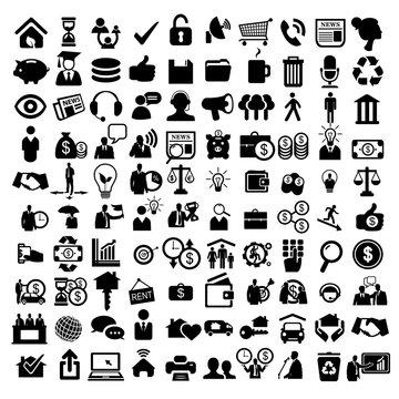 Набор бизнес иконок и фигурок людей.