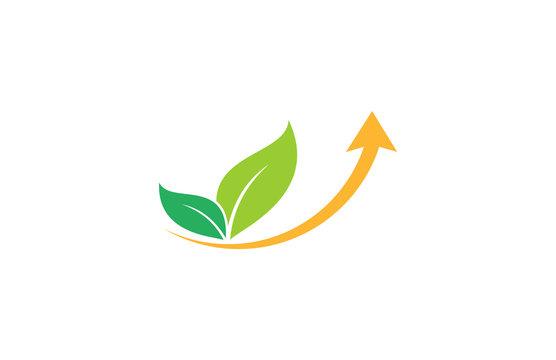 leaf beauty arrow up logo