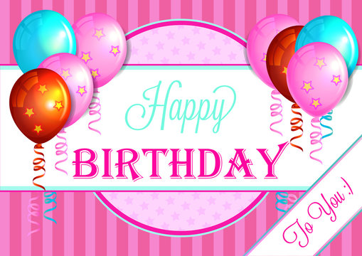 happy birthday pink greeting card with colorful balloons
