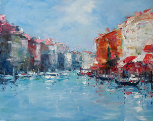 Art Oil-Painting Picture Grand Canal Venice Italy