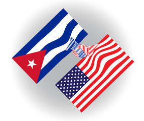 United States of America and Cuba flags shaking hands, future cooperation and teamwork