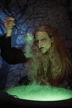 Witch brewing magic