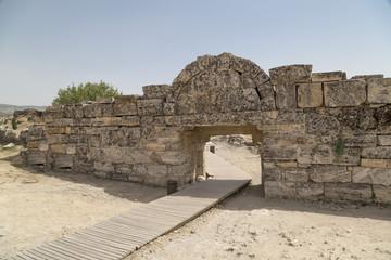 Ruins of Hierapolis, the ancient site located in Pamukkale, Denizli, Turkey.