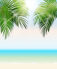 Summer Time Palm Leaf Vector Background Illustration
