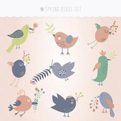 Set of nine spring cute birds