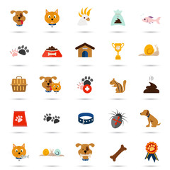 Set of twenty five color veterinary icons