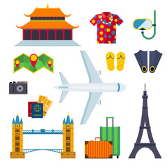 Airport travel icons vacation flat vector illustration.