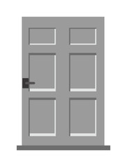Wood two red and gray elegant entrance door isolated flat vector illustration.