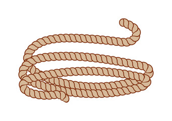Hemp three strand rope coiled in a circular pattern vector illustration.