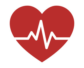 Heartbeat / heart beat pulse flat icon for medical apps and websites
