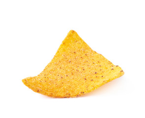 Single corn tortilla chip isolated