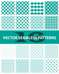 Pack of 16 turquoise vector seamless patterns: abstract, vintage, technology and geometric. Vector illustration