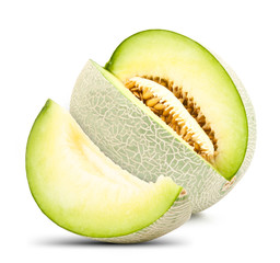 green cantaloupe melon isolated