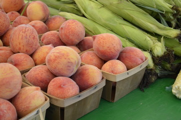 Fresh Peaches displayed for sale at an outdoor Farmers Market