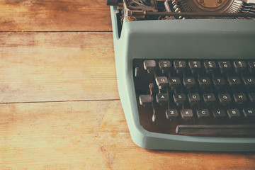 close up image of typewriter keys. vintage filtered. selective focus
