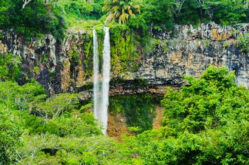 Chamarel falls in jungle of Mauritius island. Africa