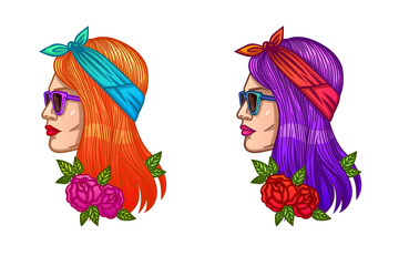Bright vector illustration portrait of the girl in a hipster style. Tattoo girl's face with roses..