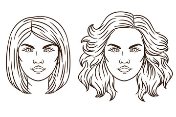 Vector portrait of a girl. The girl's face. Women's haircut. Fashionable women's hair styling. Different types of hair styling.