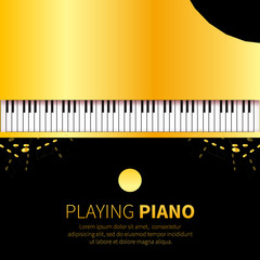 Golden foil Top view Grand piano and chair. Music instrument on black background. Vector illustration