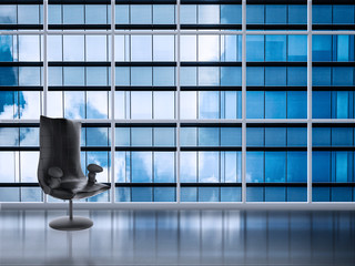 office chair with office building background