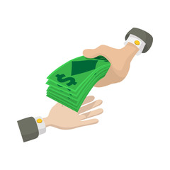 Hand passing money icon, cartoon style