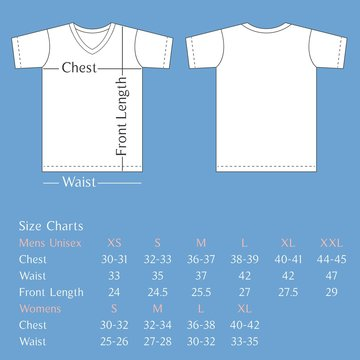 Vector T shirt template back and front with size chart for man and woman