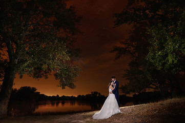 Bride and groom embracing by the lake under the stars. night Scene