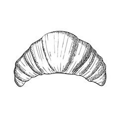 Engraving illustration of croissant