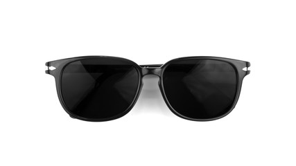 Cool sunglasses isolated on white background. In black plastic frame. Top view. Close up. Wall mural