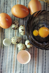 Chicken and quail eggs, wheat
