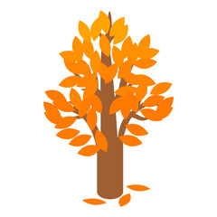 Golden autumn tree icon, isometric 3d style