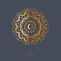 Ornamental gold flower oriental mandala on blue color background. Ethnic vintage pattern. Indian, asian, arabic, islamic, ottoman motif. Vector illustration.