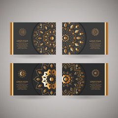Set of four ornamental gold cards with flower oriental mandala on dark grey background. Ethnic vintage pattern. Indian, asian, arabic, islamic, ottoman motif. Vector illustration under clipping mask