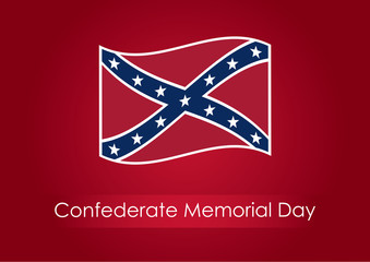 Confederate Memorial Day. Festive vector illustration. Background with confederate flag. Public holiday in the USA.