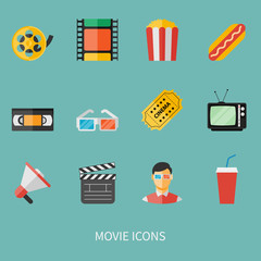 movie icon set. flat style vector illustration