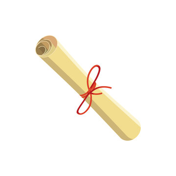 Rolled paper with red tape icon, cartoon style