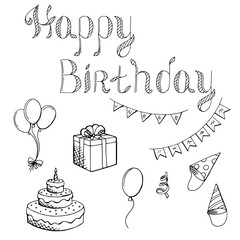 Happy birthday celebration set graphic art black white isolated illustration vector