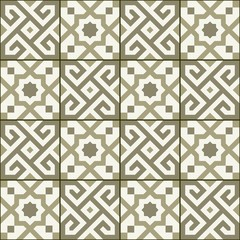 Geometric seamless  pattern  white Turkish, Moroccan, Portuguese  tiles, Azulejo, Arabic ornament. Islamic art.  The sepia colors
