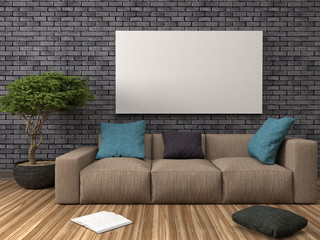 Mock up blank poster on the wall of interior with sofa. 3D Illus