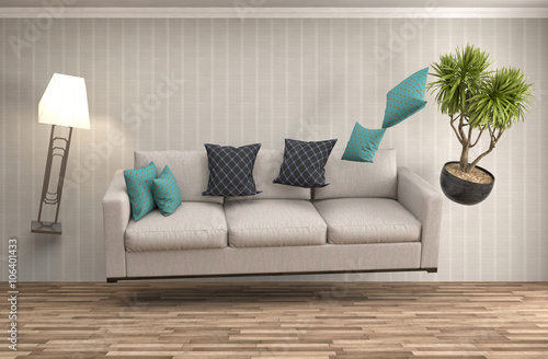 Zero Gravity Sofa Hovering In Living Room 3d Illustration Stock Photo And Royalty Free Images