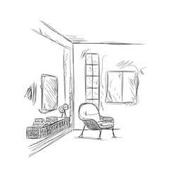 Room interior sketch. Place for reading and relax