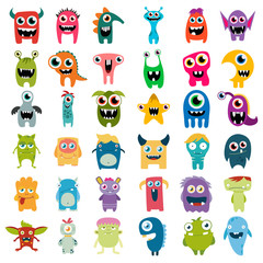 big vector set of cartoon cute monsters